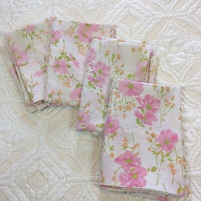 Vtg Pillowcases Floral Cosmos Standard 4 pcs Pink Flowers Wildflowers Fabric
