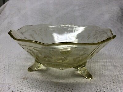 Elegant Yellow Depression Glass Divided Footed Bowl 3-Part Dish Kitchen & Dining Home & Living