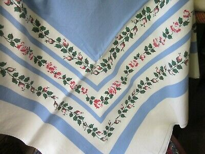 """TL8, Vintage linen table cloth, 46 x 50"""", USED, Clean, No stains, blue & white,"""