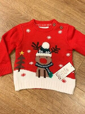 BOYS GREY CHRISTMAS POM POM HAT JUMPER BNWT 3-6 MONTH FESTIVE XMAS SWEATER