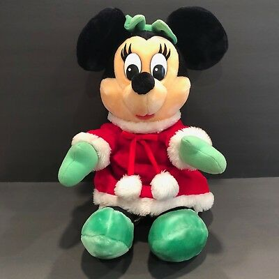 "Disneyland Walt Disney World Christmas Minnie Mouse Plush Stuffed Doll 20"" Parks"