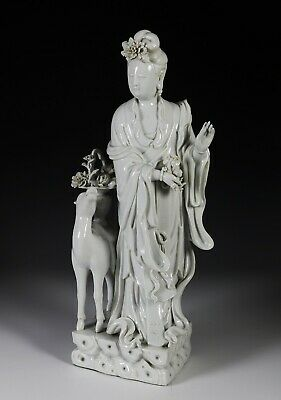 Exceptional Large Antique Chinese Dehua Blanc de Chine Statue Signed - 18c