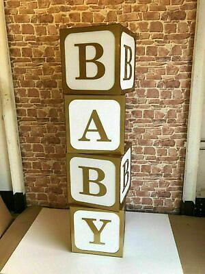 Baby Shower, Birthdays, Celebration display cubes  white and gold (38cm)