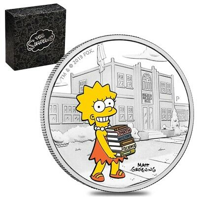 Sale Price - 2019 1 oz Tuvalu Proof Lisa Simpson Silver Coin (Colorized)