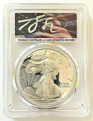 2019-S Proof Silver Eagle-Pcgs Pr70-First Day Of Issue-Cleveland-Flag-Pop 46!!!