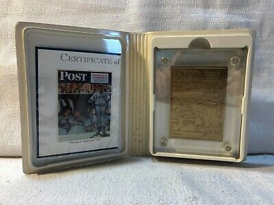 The Saturday Evening Post Norman Rockwell The Dugout Highland Mint Bronze Card