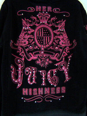 Juicy Couture Girls Black Velour Her Juicy Highness Tracksuit Jacket S Small