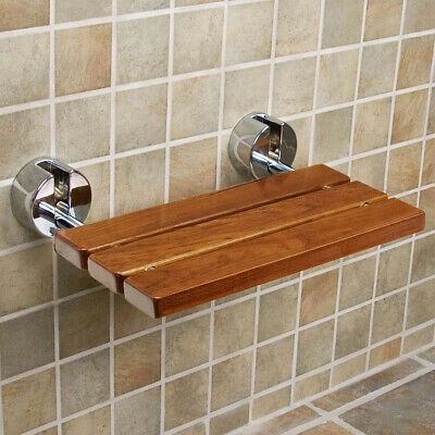 """Clevr 20"""" Teak Modern Folding Shower Seat Bench Clear Coated Medical Wall Mount"""