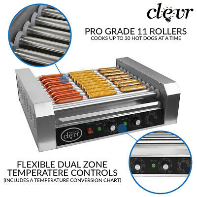 Clevr Commercial Hotdog Machine 11 Roller and 30 Hot Dog Grill Cooker Warmer