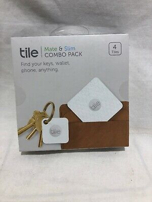 NEW Combo 4 Pack Tile Slim & Mate White Bluetooth Tracker Finder Sealed
