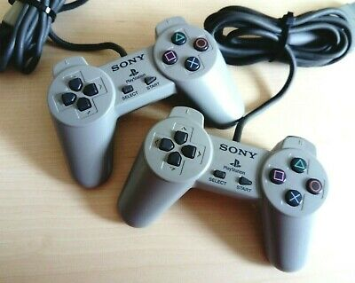 2 x Official Sony PlayStation PS1 Controller Original Grey SCPH-1080 Bundle Lot