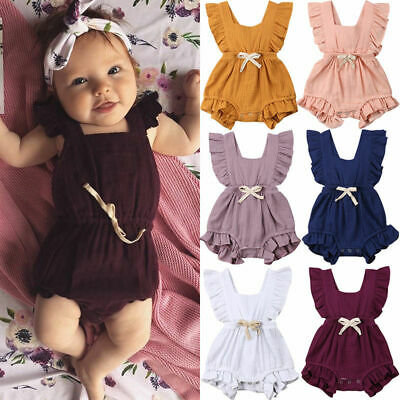 Newborn Baby Girls Ruffle One-Pieces Romper Bodysuit Jumpsuit Outfits Sunsuit US