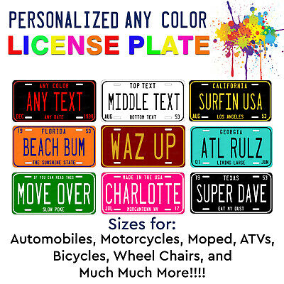 Any State Any Color Customized Aluminum LICENSE PLATE TAG Auto ATV Motorcycle