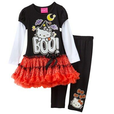 NWT GIRLS HELLO KITTY TUTU ORANGE SPARKLE HAPPY HALLOWEEN DRESS SZ 4T