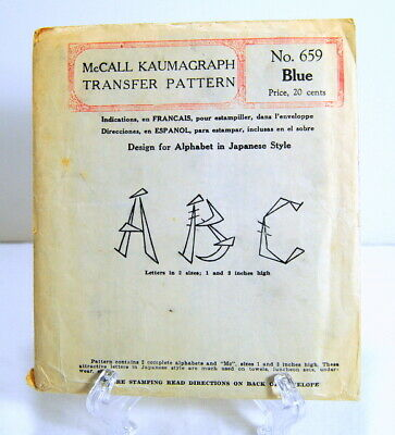 McCall Kaumagraph Transfer Pattern 659 Alphabet in Japanese Style Antique 1930's