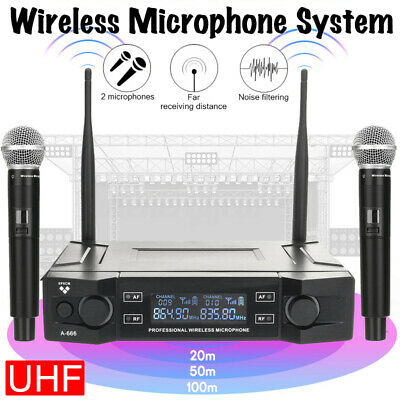 Professional 2 Channel UHF Wireless Dual Microphone Cordless Handheld Mic