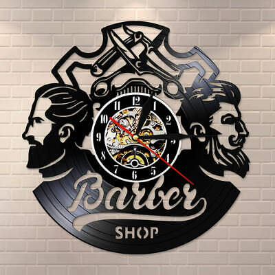 Barber Shop Logo Hair Salon Decor Vinyl Record Wall Clock Hairdresser Wall Sign