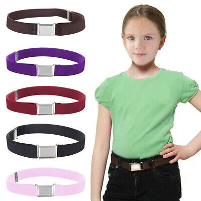 Kids Boys Girls Stretch Decorative Waistband Solid Adjustable With Buckle Belt