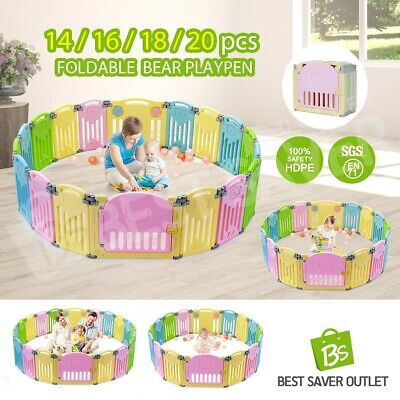Baby Playpen Interactive Baby Room Foldable Safety Gates Bear ABST Kids Multi