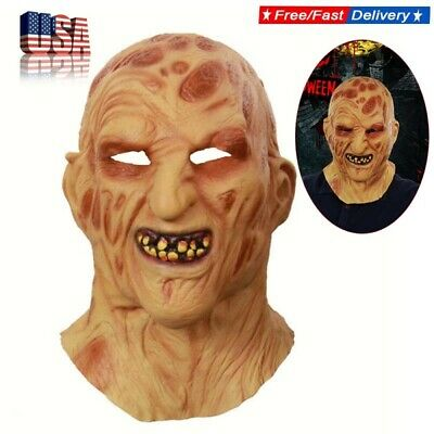 Freddy Krueger Mask Latex Party Costume Role Play Horror Villain Halloween Masks