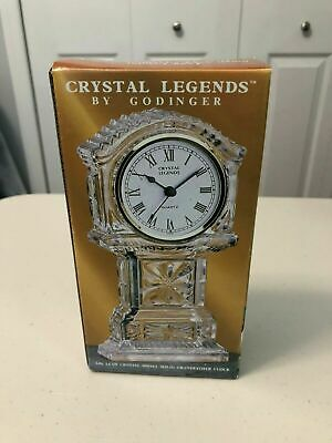 Clock Crystal Legends Quartz Over 24% Lead Crystal By Godinger. Brand New In Box