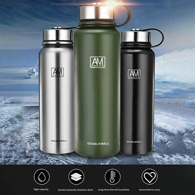 20-50oz Double Walled Water Bottle Stainless Steel Insulated Vacuum