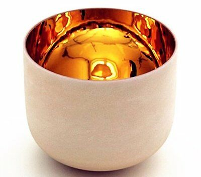 """7"""" Alchemy Solid Gold Frosted F Heart Chakra Quartz Crystal Singing bowl +mallet"""