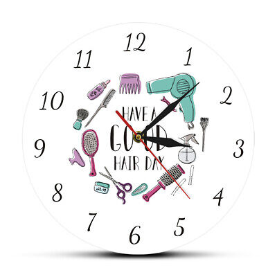 Modern Wall Clock Hair Salon Barber Shop Wall Decor Hairstylist Print Clock
