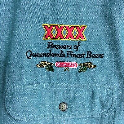 Vintage Stubbies Shirt XXXX Embroidery Beer QLD Long Sleeve Linen Green Fit S/M