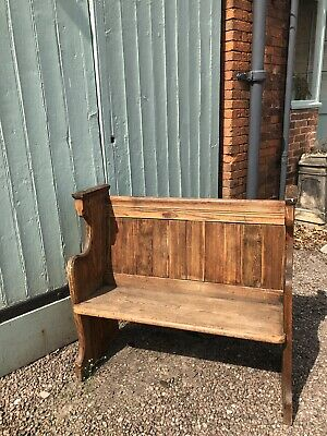 Antique Vintage Church Pew Hall Bench Seat Wooden Monks Bench Settle