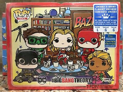 Funko Pop Tee! The Big Bang Theory SDCC Shared Exclusives T-shirt Justice League