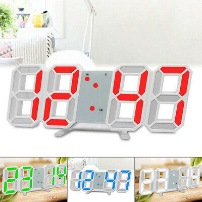 Digital 3LED Wall/Desk Clock Snooze Alarm Big Digits Auto Brightness Clock UK
