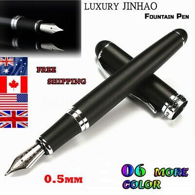 Stylish Jinhao X750 Silver Stainless Steel Medium 18KGP Nib Fountain Pen 6 Color