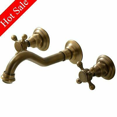 Wall Mount Bathroom Faucet Antique Brass Wall Mount Faucet Two Handle Mixer Tap