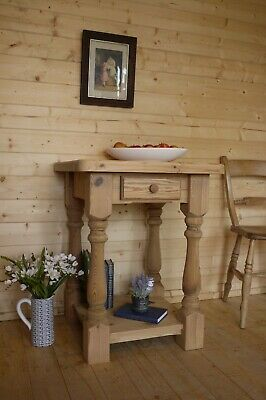 Farmhouse rustic solid pine wooden console table table wash stand tv media unit