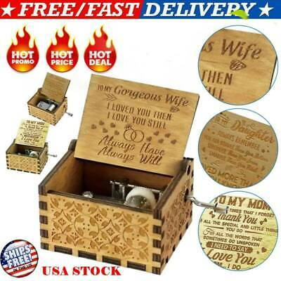 Wooden Engraved Music Box Gift for Mom/Dad To Daughter/Son/Wife/Husband/Mum US