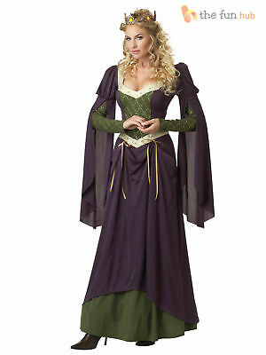Ladies Medieval Queen Fancy Dress Costume Renaissance Lady In Waiting Womens