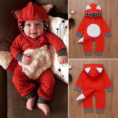 UK Newborn Infant Baby Boy Girl Fox Babygrows Romper Jumpsuit Playsuit Outfits