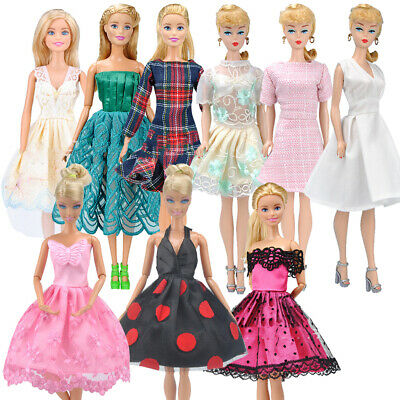 9Pcs Different Style Dresses Clothes Set for Barbie Doll Casual Party Decor