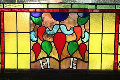 Antique Lead Glazed Stained Glass Window Pane