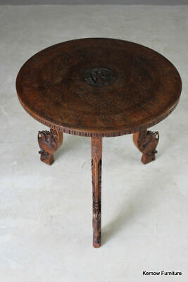 Carved Eastern Round Coffee Occasional Lamp Side Table