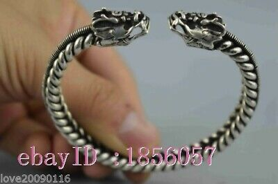 Collectible Handwork Old Miao Silver Carve Dragon Head Tandem Exorcism Bracelets