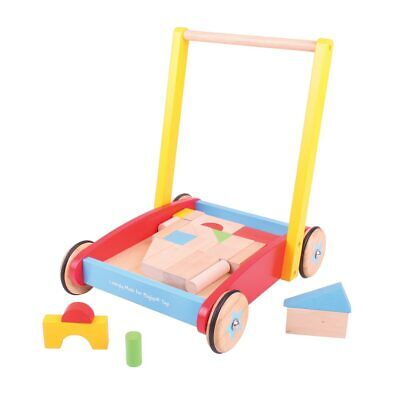 Bigjigs Toys Wooden Baby Walker with Stacking Blocks Walking Mobility Kids Child