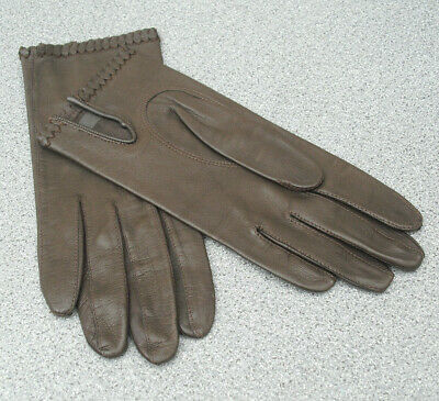 Vintage ladies soft leather gloves size small dark brown stitch edging size 6.5