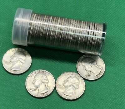 Washington Quarters (1932-1964) 40 Coin Roll 90% Silver $10 Face Value