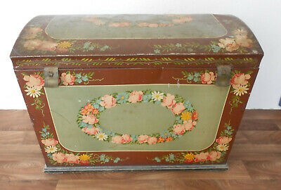 Ancient XXL Tin! Chest Peasant Art Lithography Kleidertruhe Shabby Country House