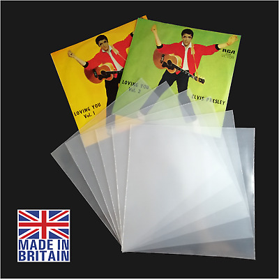 """100 x 7"""" Inch 450g Plastic Polythene Record Sleeves - 45RPM Outer Vinyl Covers"""