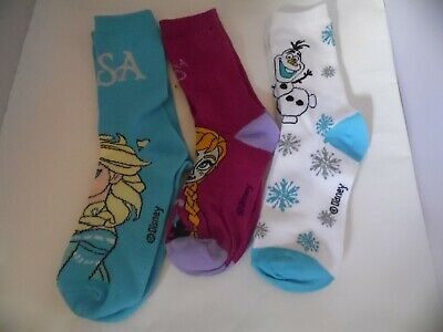 New 3 Pack Disney Frozen Girls Crew Socks Uk 1-6 Olaf,Elsa,Anna