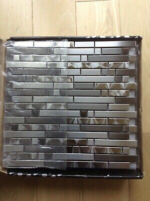 NEW LUXURY SILVER GREY LUSTROUS MOSAIC TILES 8MM RRP £9
