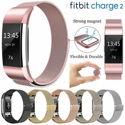 für Fitbit Charge 2 Armband Edelstahl Replacement Wrist Strap Watchband Magnet